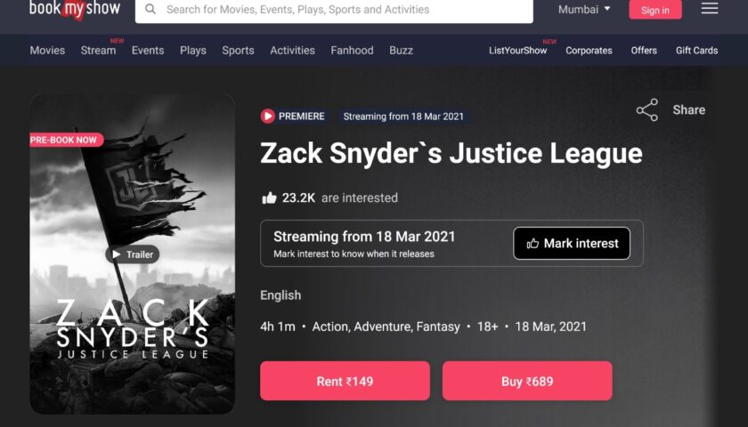 Justice League Snyder Cut India Pricing, Release Time Announced
